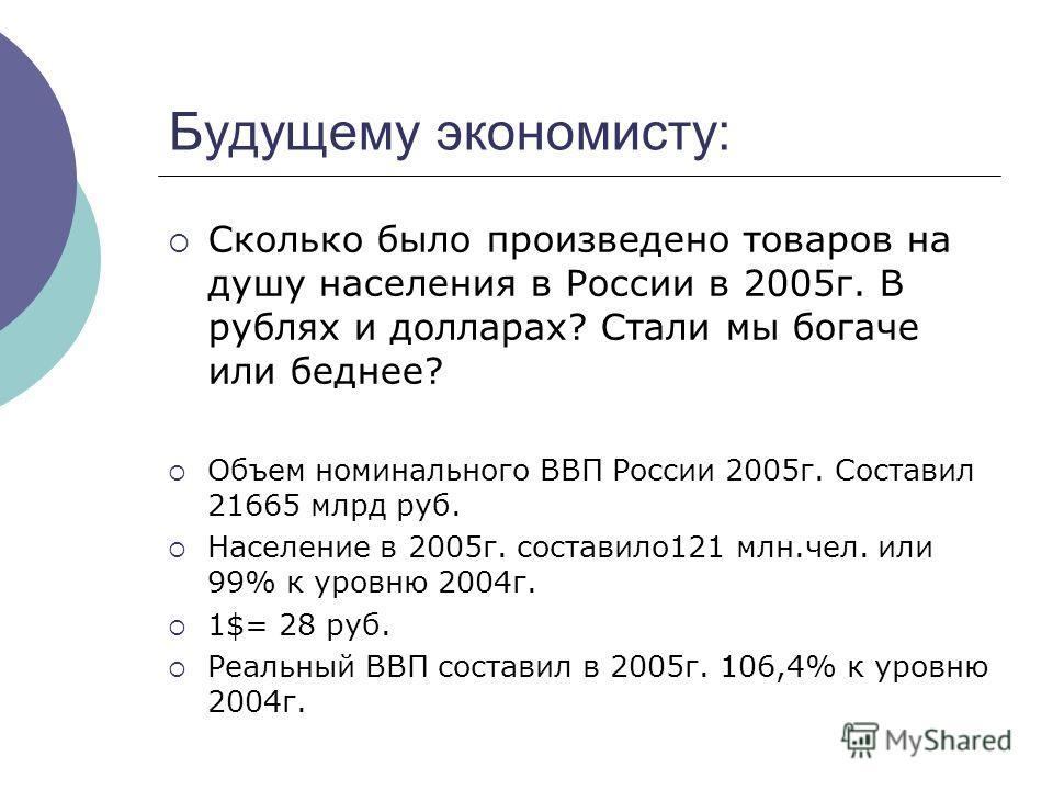 Будущему экономисту: Сколько было произведено товаров на душу населения в России в 2005г. В рублях и долларах? Стали мы богаче или беднее? Объем номинального ВВП России 2005г. Составил 21665 млрд руб. Население в 2005г. составило121 млн.чел. или 99%