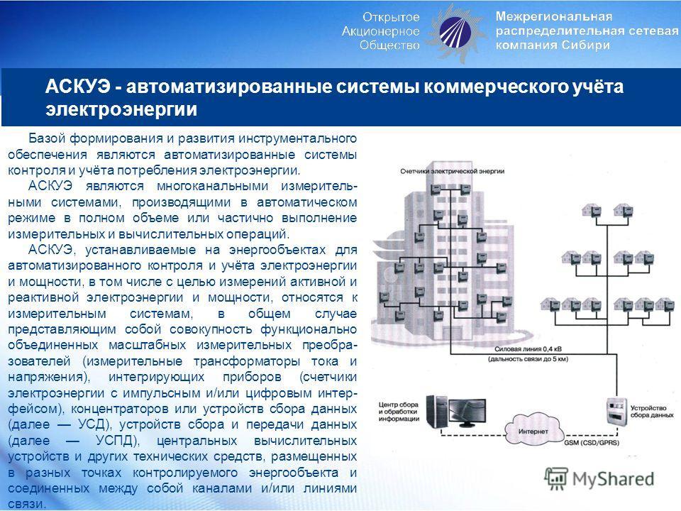 АСКУЭ - автоматизированные системы коммерческого учёта электроэнергии Базой формирования и развития инструментального обеспечения являются автоматизированные системы контроля и учёта потребления электроэнергии. АСКУЭ являются многоканальными измерите