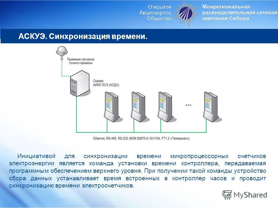 Инициативой для синхронизации времени микропроцессорных счетчиков электроэнергии является команда установки времени контроллера, передаваемая программным обеспечением верхнего уровня. При получении такой команды устройство сбора данных устанавливает