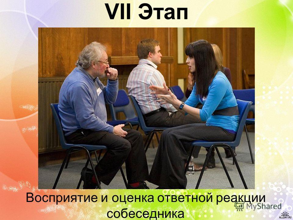 VII Этап Восприятие и оценка ответной реакции собеседника