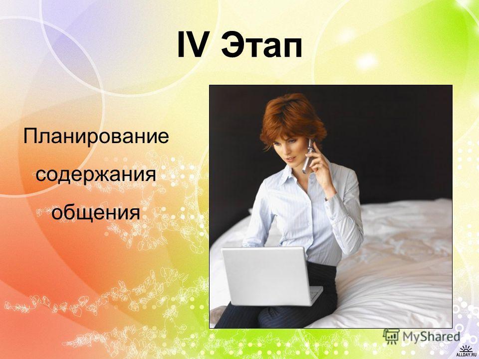 IV Этап Планирование содержания общения