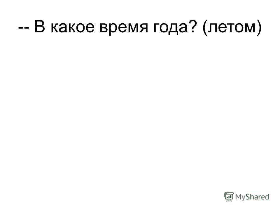 -- В какое время года? (летом)