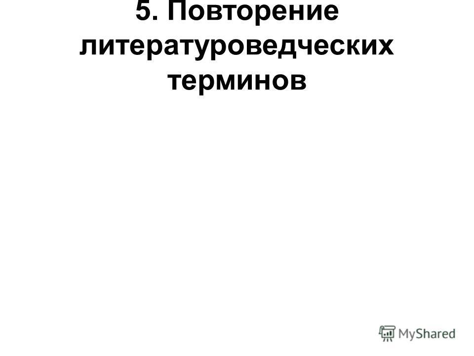 5. Повторение литературоведческих терминов