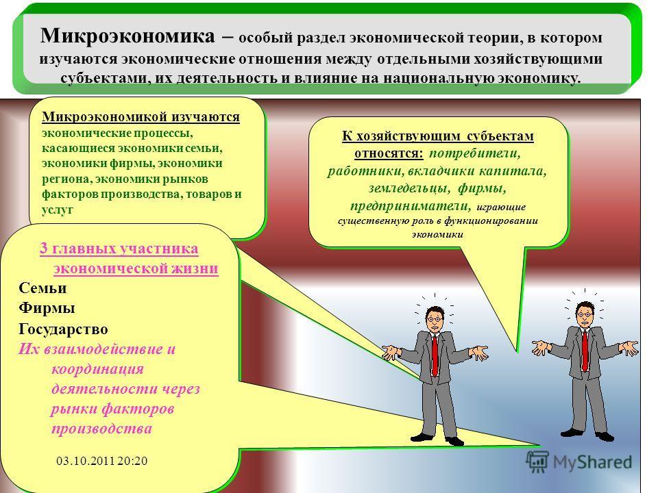 Микроэкономика – особый раздел экономической теории, в котором изучаются экономические отношения между отдельными хозяйствующими субъектами, их деятельность и влияние на национальную экономику. Микроэкономикой изучаются экономические процессы, касающ
