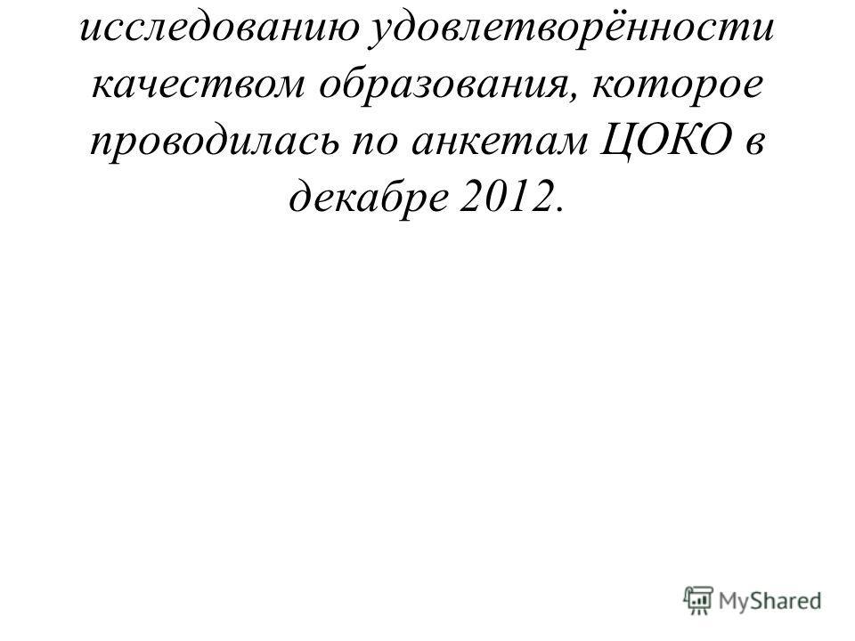 Направляю материалы по исследованию удовлетворённости качеством образования, которое проводилась по анкетам ЦОКО в декабре 2012.