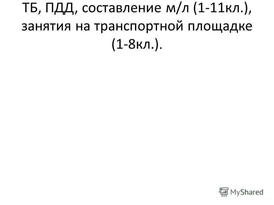 ТБ, ПДД, составление м/л (1-11кл.), занятия на транспортной площадке (1-8кл.).