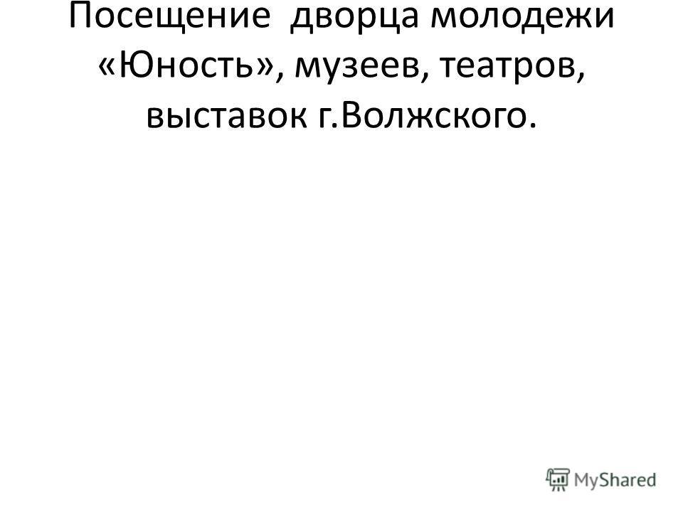 Посещение дворца молодежи «Юность», музеев, театров, выставок г.Волжского.
