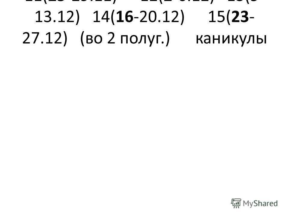 11(25-29.11)12(2-6.12)13(9- 13.12)14(16-20.12)15(23- 27.12)(во 2 полуг.)каникулы
