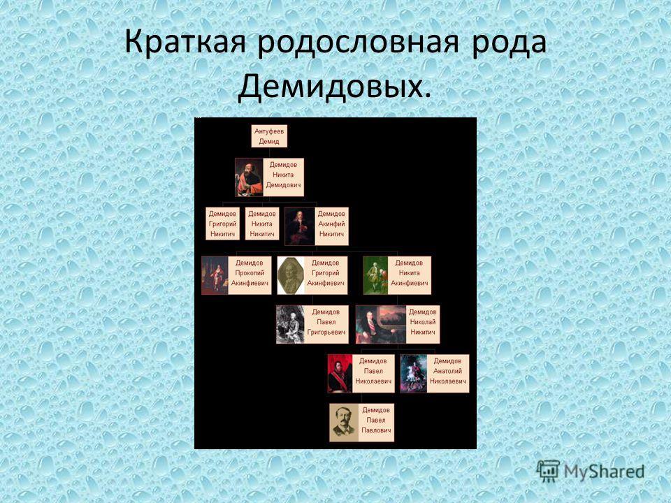 Краткая родословная рода Демидовых.