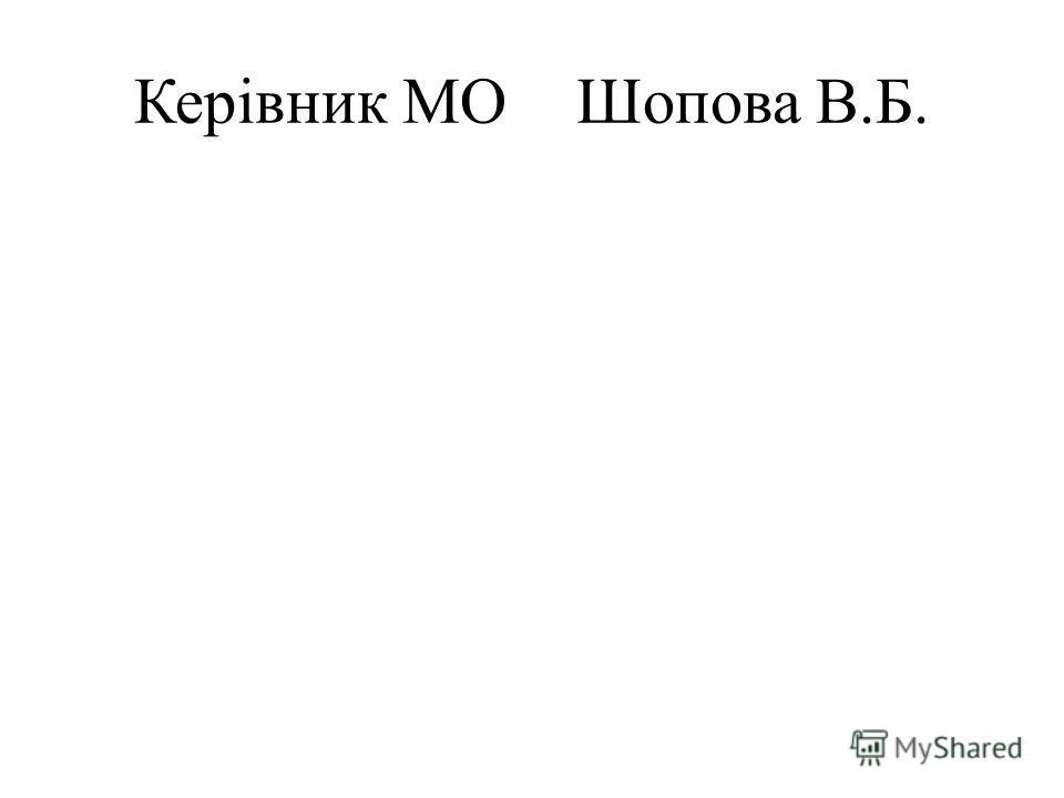Керівник МО Шопова В.Б.