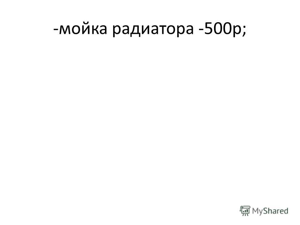 -мойка радиатора -500р;
