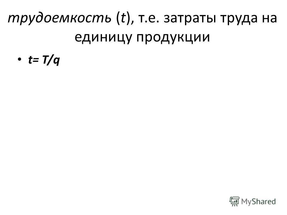 трудоемкость (t), т.е. затраты труда на единицу продукции t= T/q