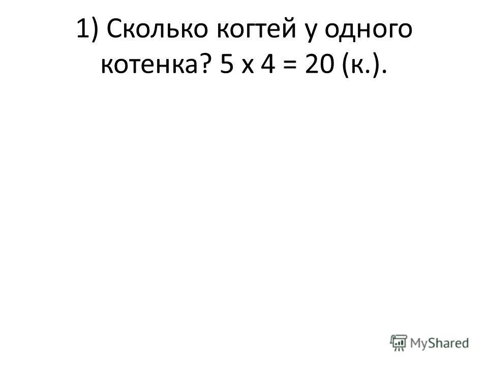 1) Сколько когтей у одного котенка? 5 х 4 = 20 (к.).