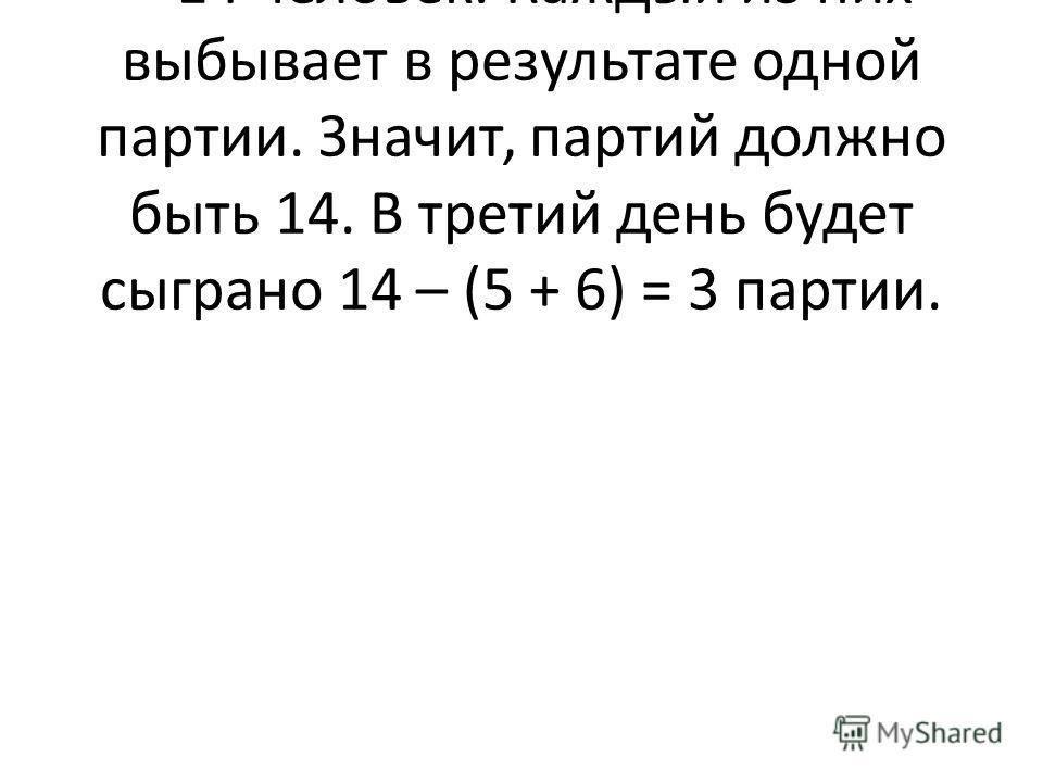 Решение. Выбыть должно 15 – 1 = 14 человек. Каждый из них выбывает в результате одной партии. Значит, партий должно быть 14. В третий день будет сыграно 14 – (5 + 6) = 3 партии.