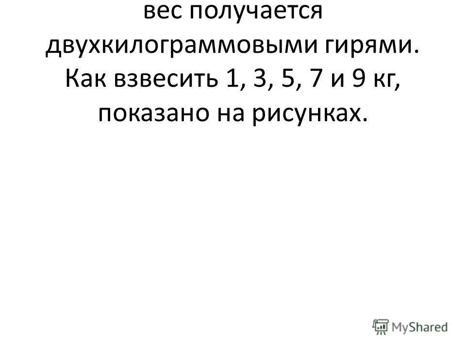 Доказательство. Любой четный вес получается двухкилограммовыми гирями. Как взвесить 1, 3, 5, 7 и 9 кг, показано на рисунках.
