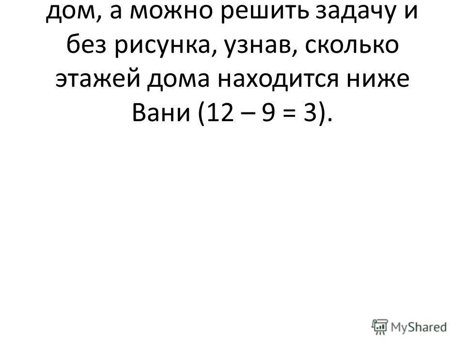 Решение. Можно нарисовать дом, а можно решить задачу и без рисунка, узнав, сколько этажей дома находится ниже Вани (12 – 9 = 3).
