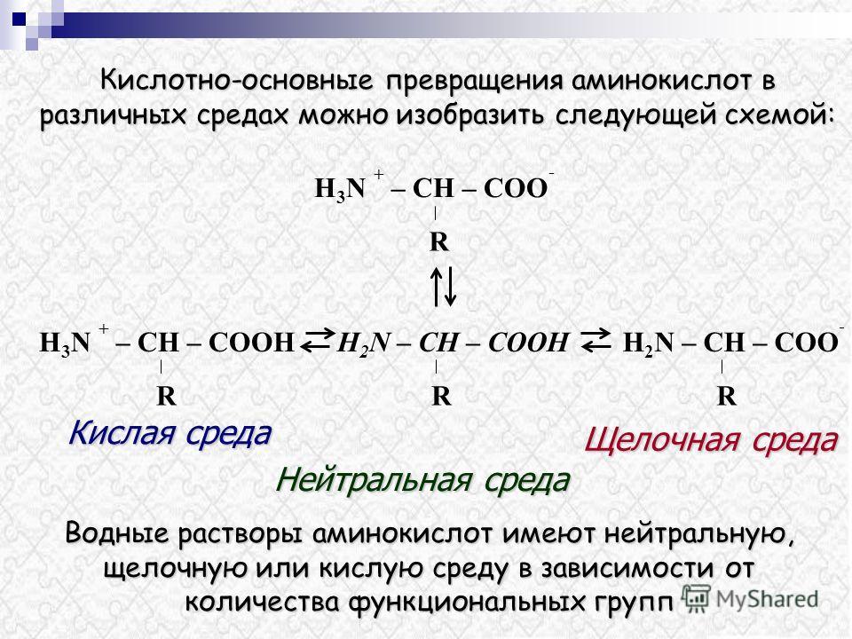 Водные растворы аминокислот имеют нейтральную, щелочную или кислую среду в зависимости от количества функциональных групп H 2 N – CH – COOH R R H 3 N + – CH – COO - R H 3 N + – CH – COOНH 2 N – CH – COO - R Кислая среда Нейтральная среда Щелочная сре