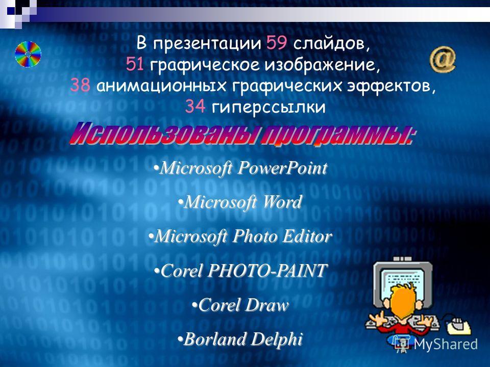 В презентации 59 слайдов, 51 графическое изображение, 38 анимационных графических эффектов, 34 гиперссылки MicrosoftMicrosoft PowerPoint Word Photo Editor CorelCorel PHOTO-PAINT Draw BorlandBorland Delphi