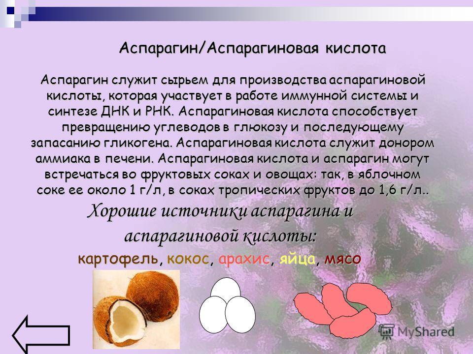 Аспарагин/Аспарагиновая кислота Аспарагин служит сырьем для производства аспарагиновой кислоты, которая участвует в работе иммунной системы и синтезе ДНК и РНК. Аспарагиновая кислота способствует превращению углеводов в глюкозу и последующему запасан