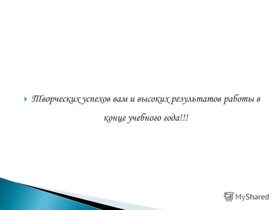 Творческих успехов вам и высоких результатов работы в конце учебного года!!!