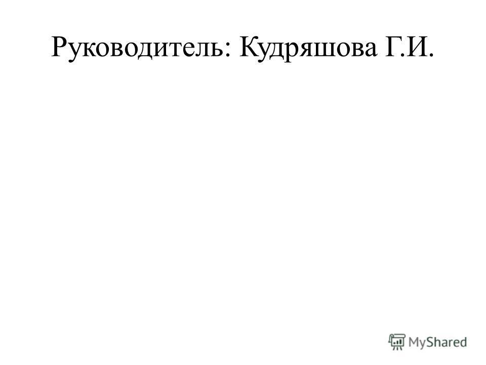 Руководитель: Кудряшова Г.И.