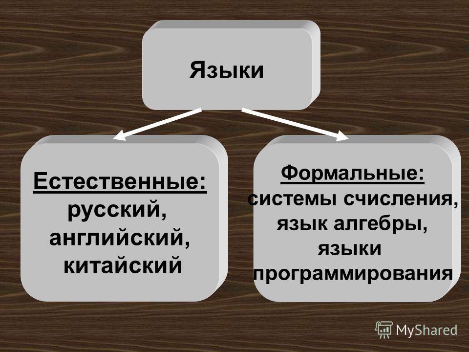 Языки Естественные: русский, английский, китайский Формальные: системы счисления, язык алгебры, языки программирования
