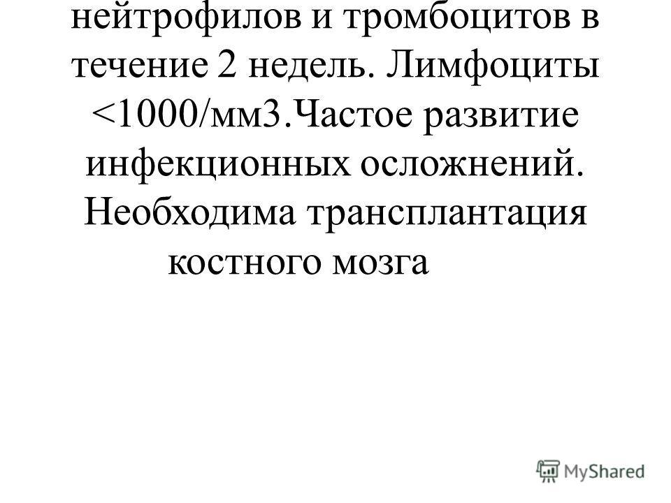 Гематопоэтическая200-600 Тошнота и рвота. Петехии и геморрагии. Резкое снижение нейтрофилов и тромбоцитов в течение 2 недель. Лимфоциты