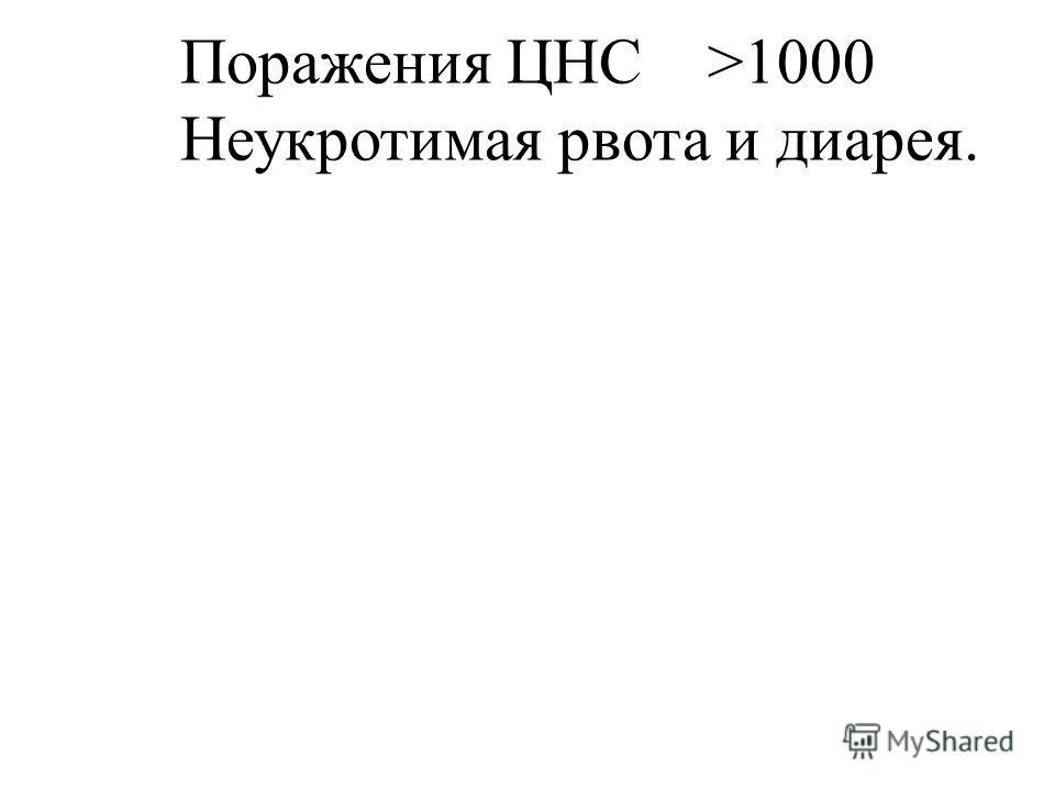 Поражения ЦНС>1000 Неукротимая рвота и диарея.