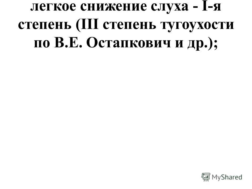 легкое снижение слуха - I-я степень (III степень тугоухости по В.Е. Остапкович и др.);