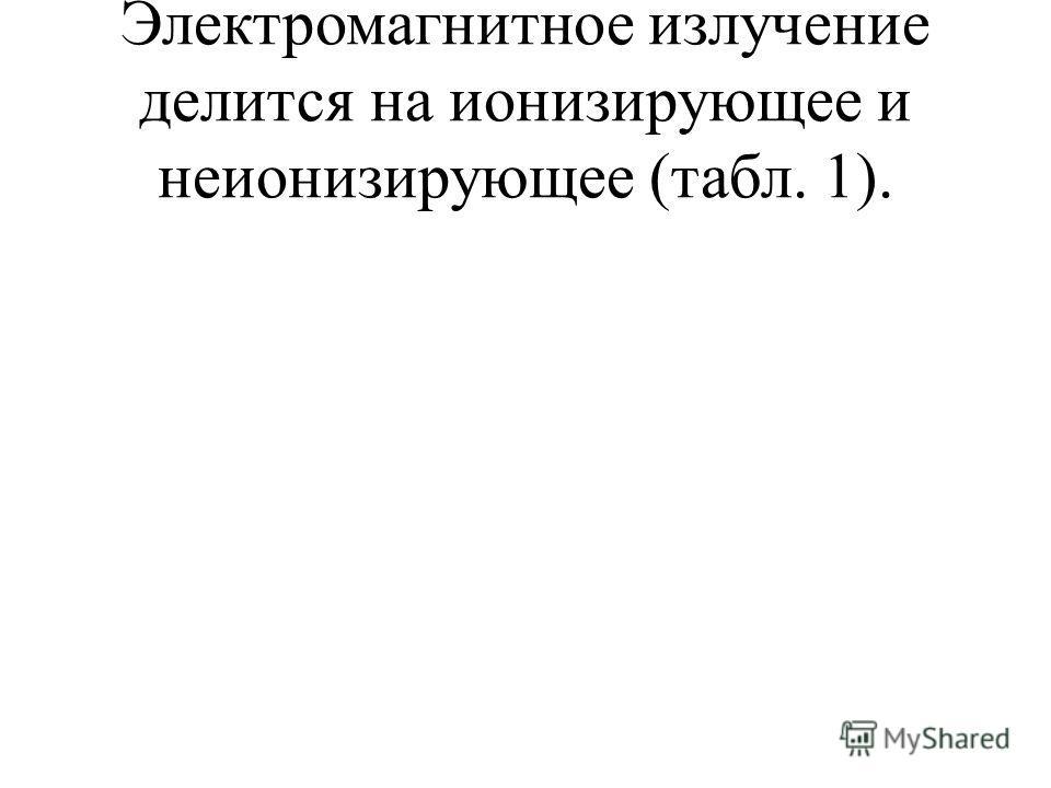 Электромагнитное излучение делится на ионизирующее и неионизирующее (табл. 1).