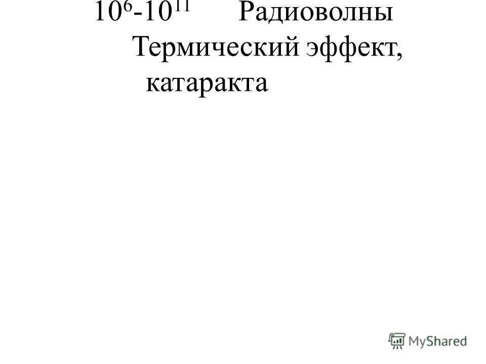 10 6 -10 11 Радиоволны Термический эффект, катаракта