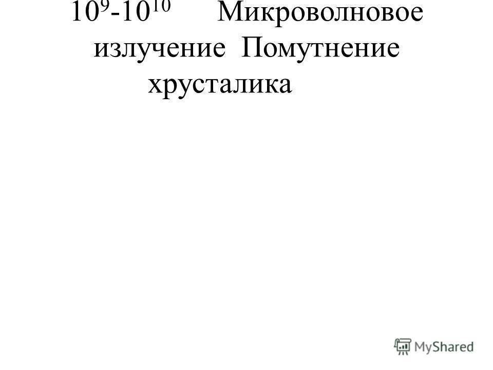 10 9 -10 10 Микроволновое излучениеПомутнение хрусталика