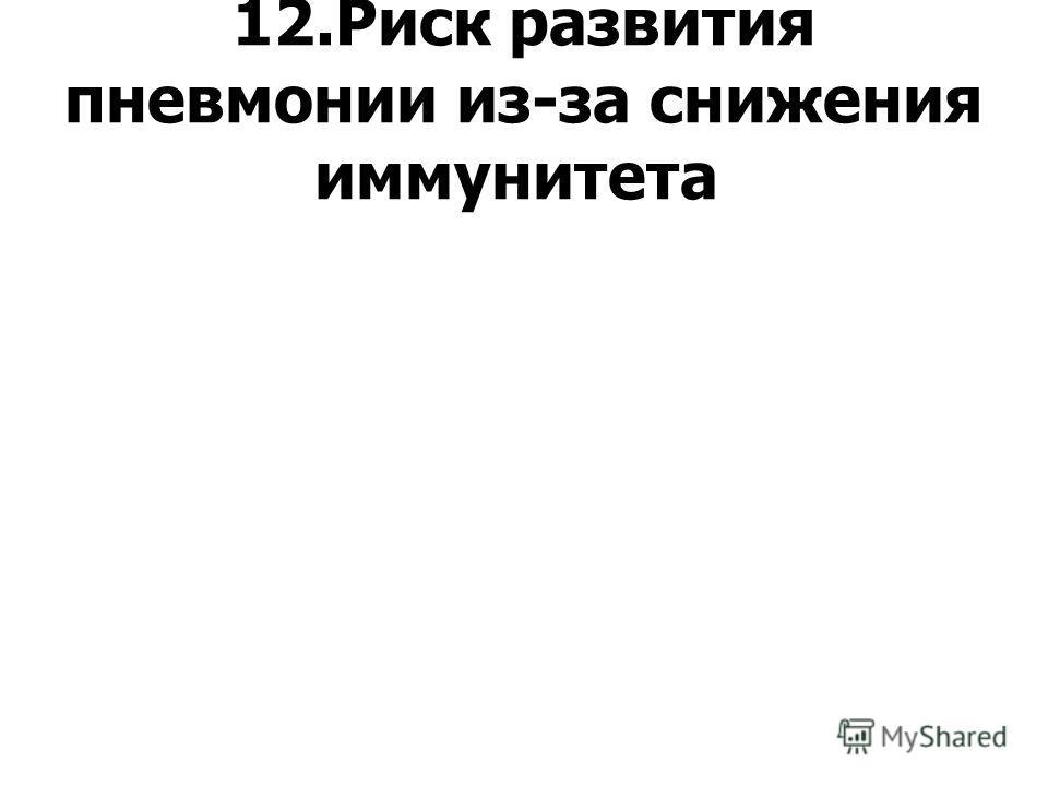 12.Риск развития пневмонии из-за снижения иммунитета