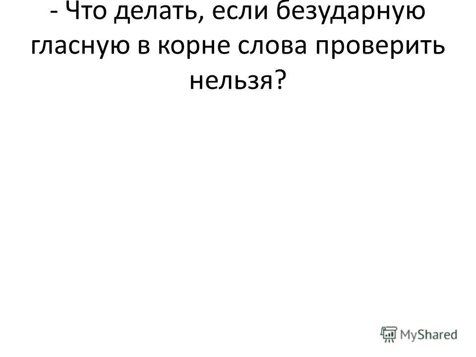- Что делать, если безударную гласную в корне слова проверить нельзя?