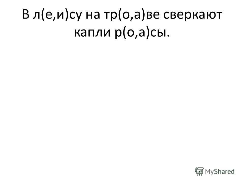 В л(е,и)су на тр(о,а)ве сверкают капли р(о,а)сы.