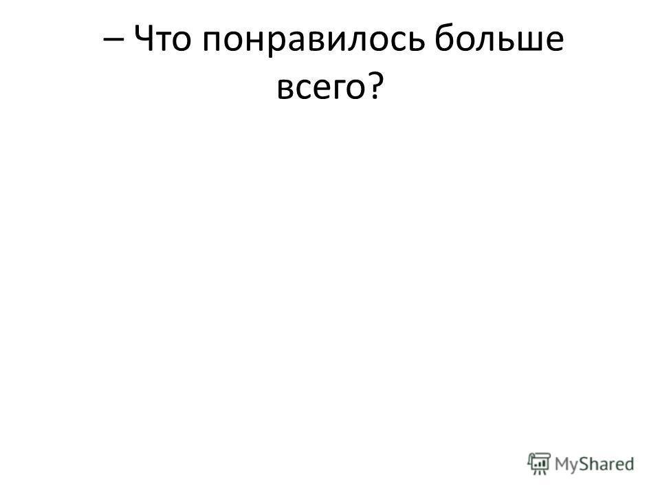 – Что понравилось больше всего?