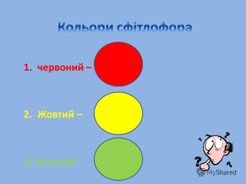 1.червоний – 2.Жовтий – 3. Зелений -