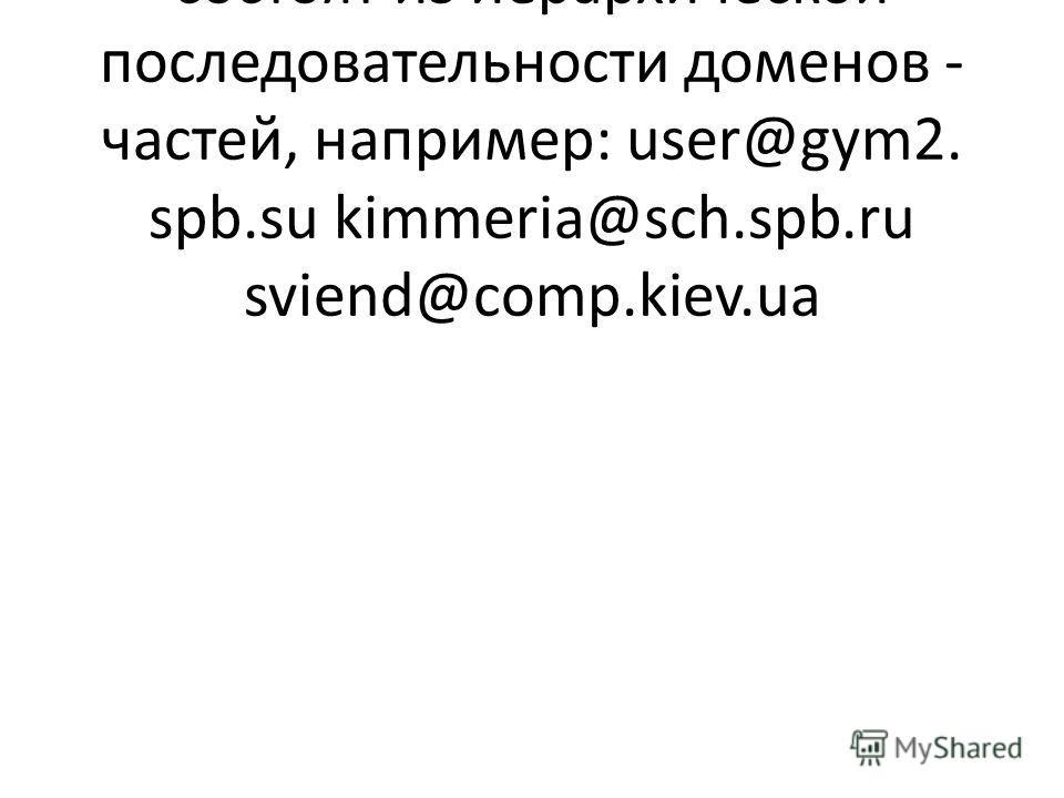 Адреса электронной почты состоят из иерархической последовательности доменов - частей, например: user@gym2. spb.su kimmeria@sch.spb.ru sviend@comp.kiev.ua