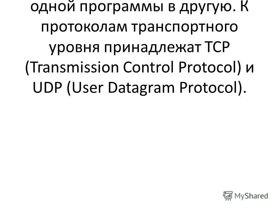 Протоколы транспортного уровня управляют передачей данных из одной программы в другую. К протоколам транспортного уровня принадлежат ТСР (Тгansmission Control Protocol) и UDР (User Datagram Protocol).