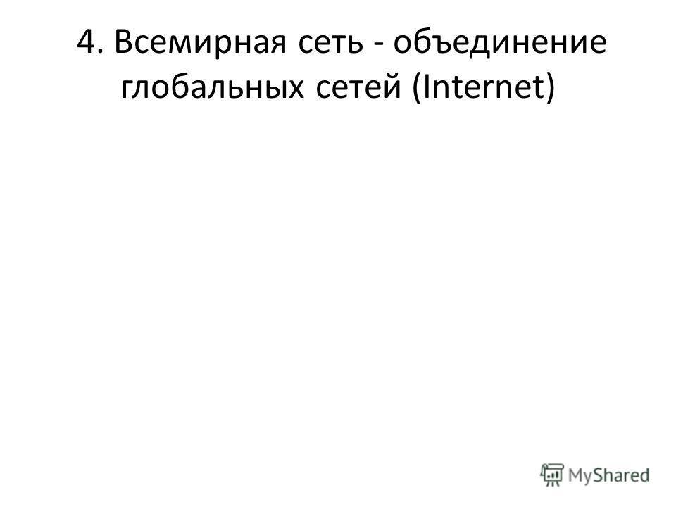 4. Всемирная сеть - объединение глобальных сетей (Internet)