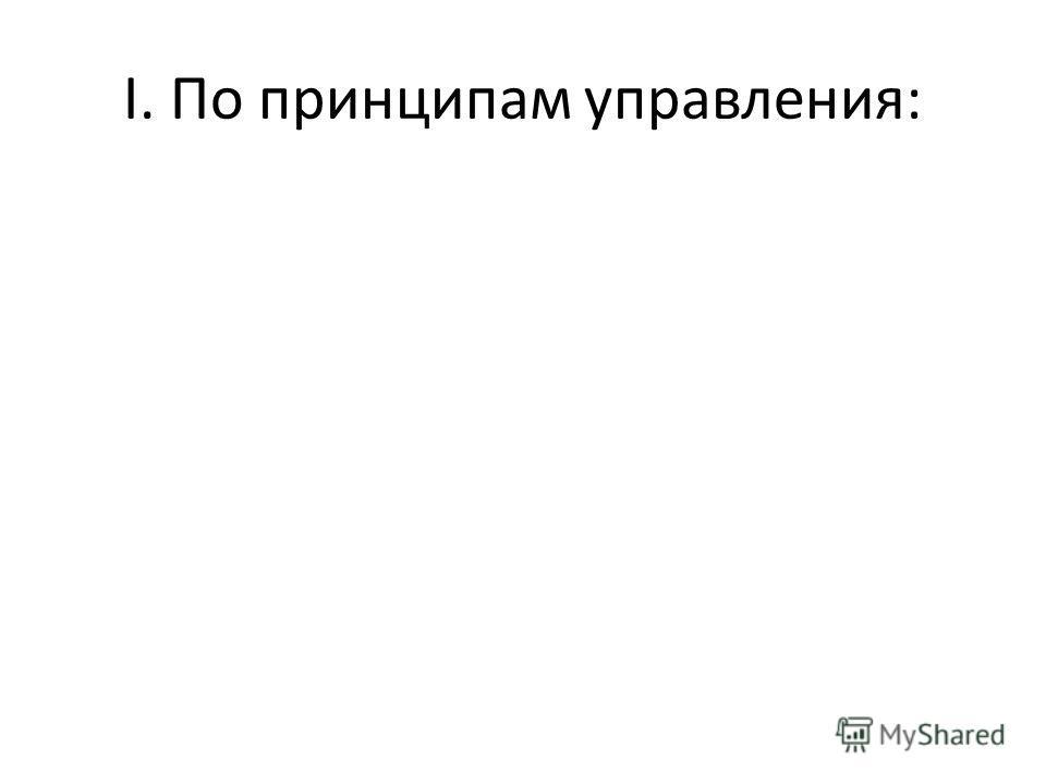 I. По принципам управления: