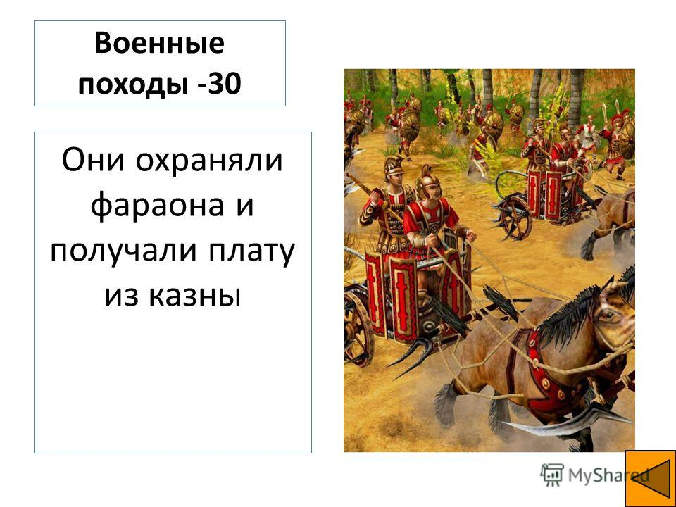 Военные походы -30 Они охраняли фараона и получали плату из казны