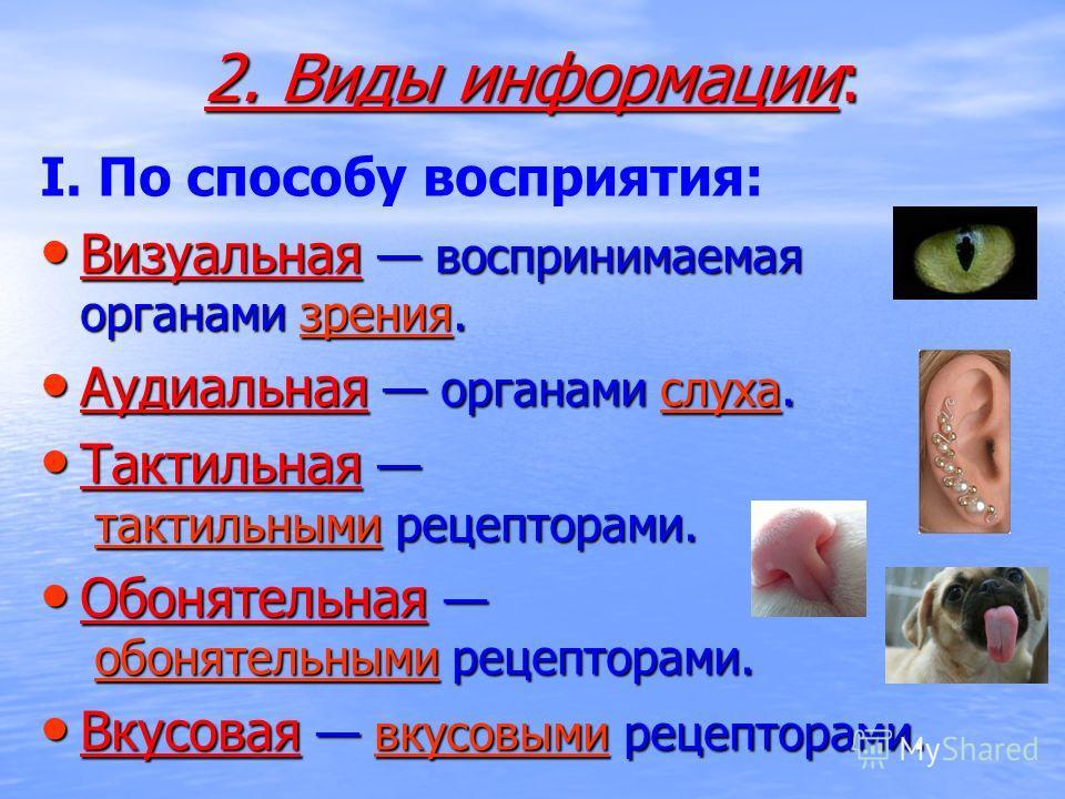 2. Виды информации: I. По способу восприятия: Визуальная воспринимаемая органами зрения. Визуальная воспринимаемая органами зрения.зрения Аудиальная органами слуха. Аудиальная органами слуха.слуха Тактильная тактильными рецепторами. Тактильная тактил
