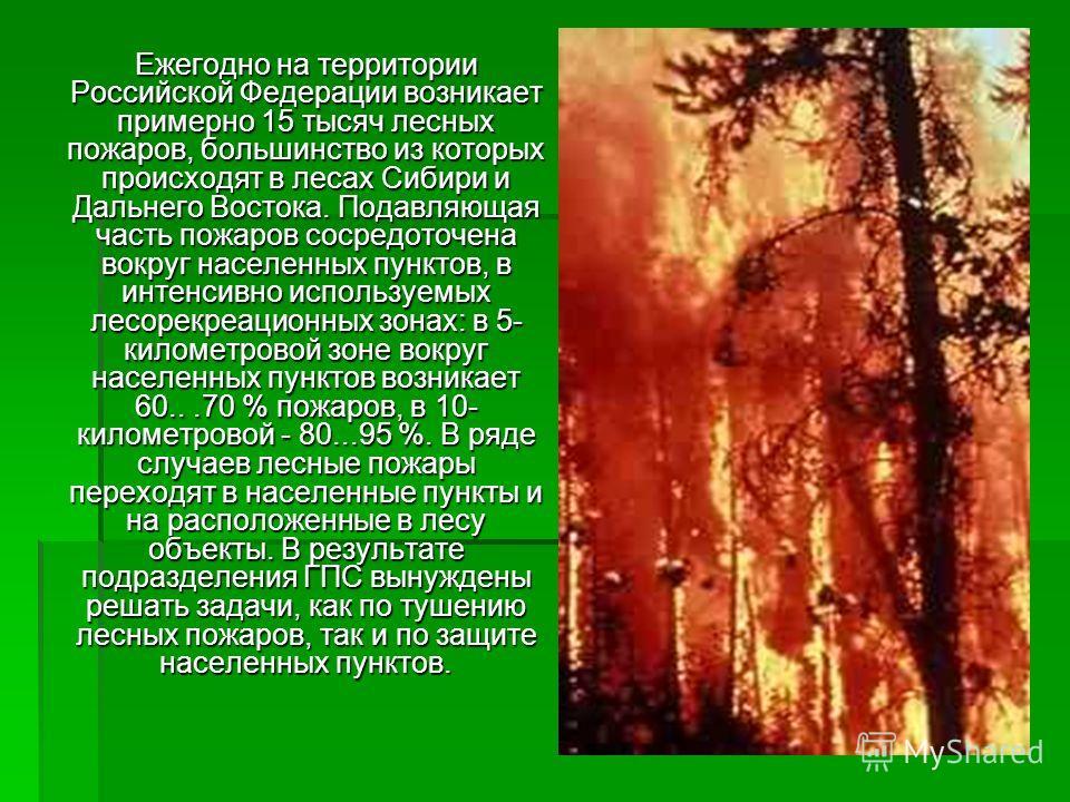 Ежегодно на территории Российской Федерации возникает примерно 15 тысяч лесных пожаров, большинство из которых происходят в лесах Сибири и Дальнего Востока. Подавляющая часть пожаров сосредоточена вокруг населенных пунктов, в интенсивно используемых
