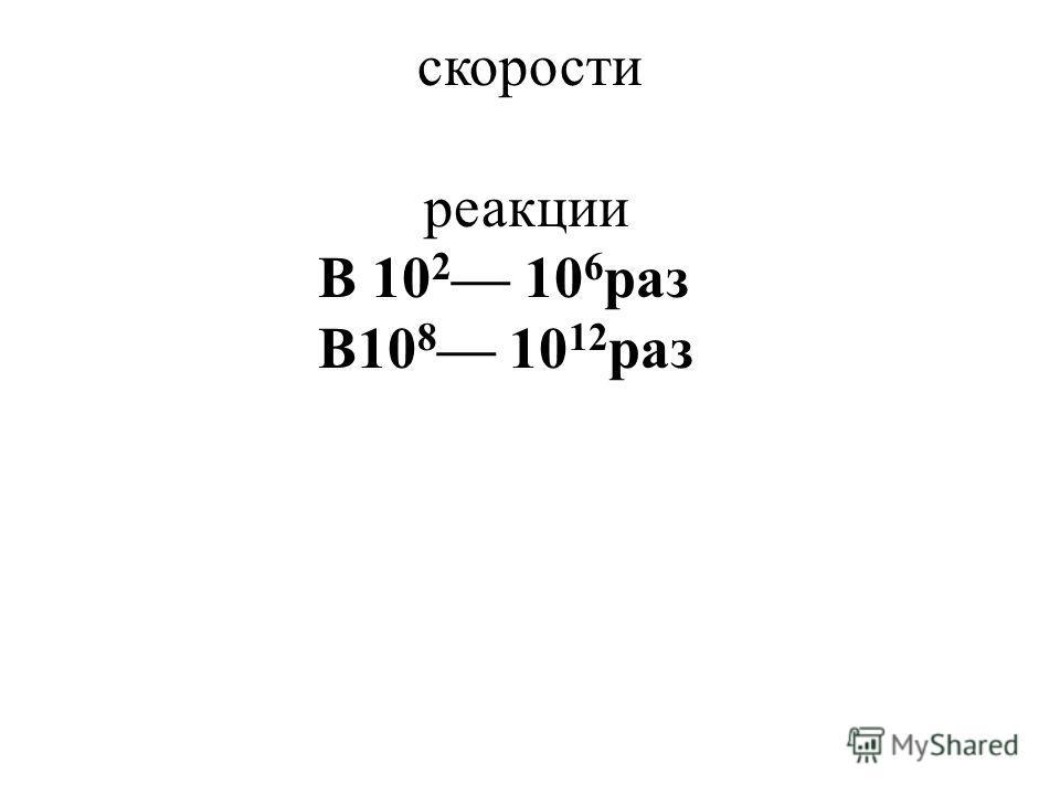 Увеличение скорости реакции В 10 2 10 6 раз В10 8 10 12 раз