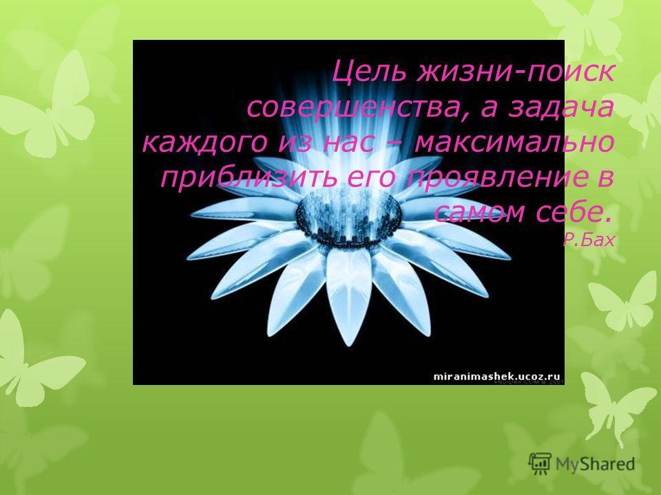 Цель жизни-поиск совершенства, а задача каждого из нас – максимально приблизить его проявление в самом себе. Р.Бах