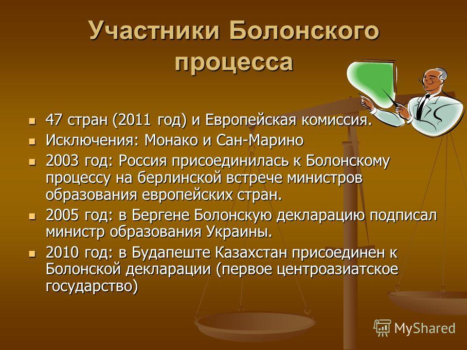 Участники Болонского процесса 47 стран (2011 год) и Европейская комиссия. Исключения: Монако и Сан-Марино 2003 год: Россия присоединилась к Болонскому процессу на берлинской встрече министров образования европейских стран. 2005 год: в Бергене Болонск