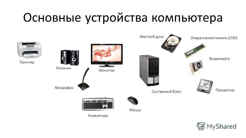 Основные устройства компьютера Процессор Микрофон Клавиатура Мышь Жесткий диск Оперативная память (ОЗУ) Видеокарта Колонки Монитор Принтер Системный блок