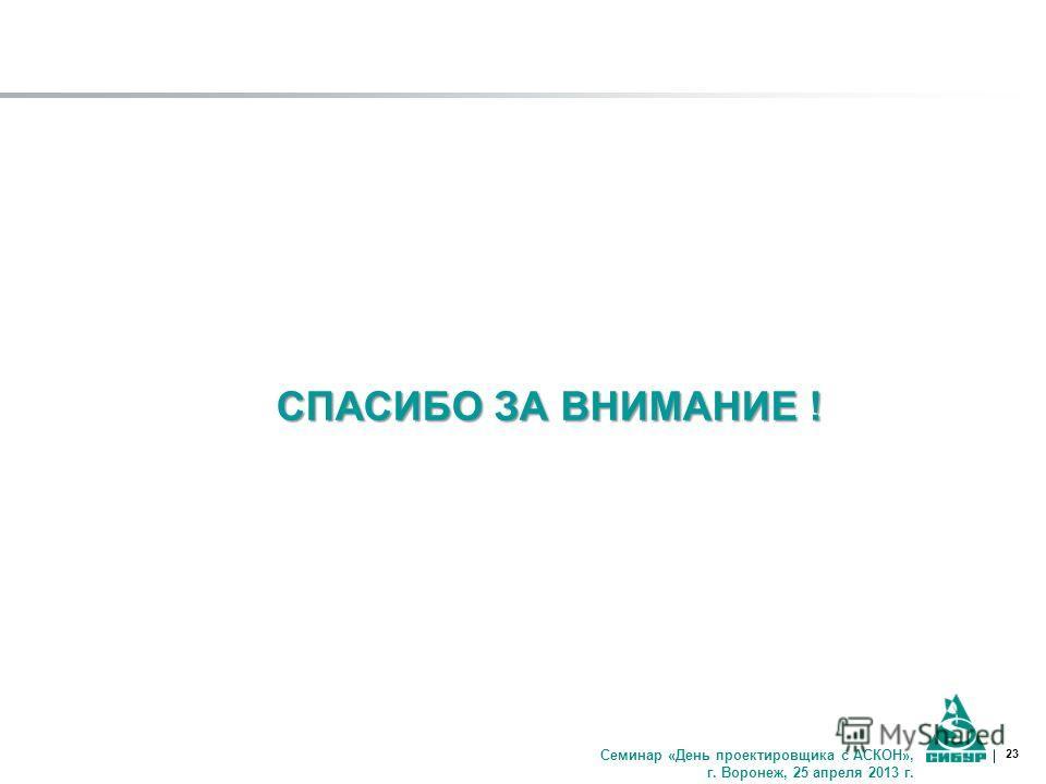 23 СПАСИБО ЗА ВНИМАНИЕ ! Семинар «День проектировщика с АСКОН», г. Воронеж, 25 апреля 2013 г.