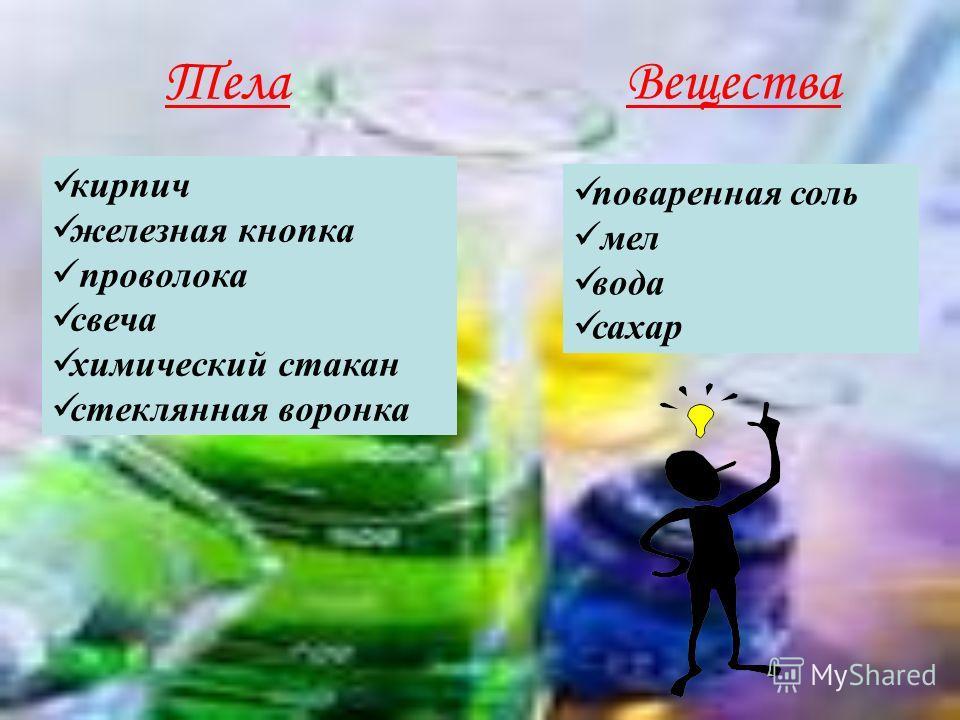 ТелаВещества кирпич железная кнопка проволока свеча химический стакан стеклянная воронка поваренная соль мел вода сахар